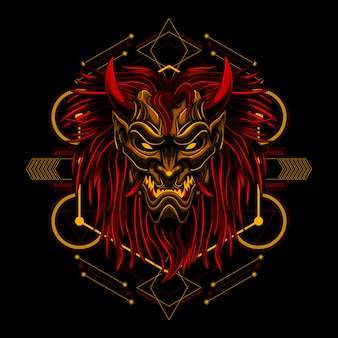 Ронин длинноватая маска дьявол злой вектор