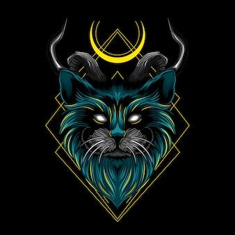 Дьявол злой кот рога векторная иллюстрация