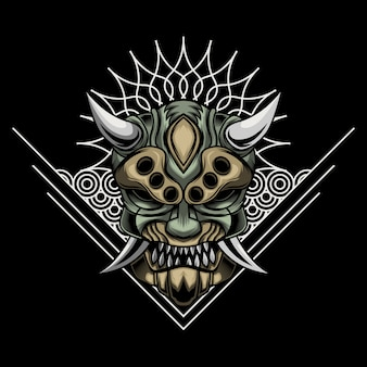 Иллюстрация сердитой маски ронина