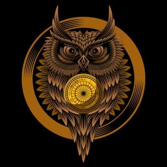 フクロウ時計ベクトル