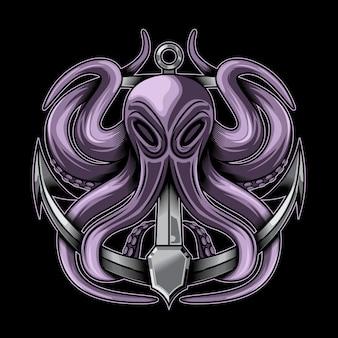 Векторная иллюстрация осьминога и анкера