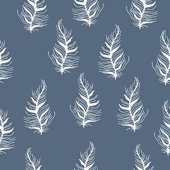 スカンジナビアスタイルの羽を持つベクトルシームレスパターン