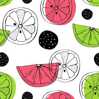 シトラスフルーツとシームレスなパターン。スカンジナビアの動機。