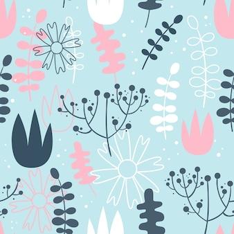 花とベクトルシームレスなパターン。スカンジナビア様式。