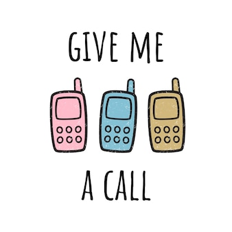 電話ください。携帯電話とイラスト。