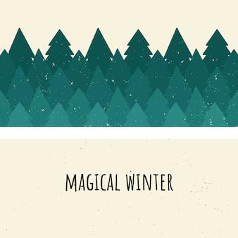 魔法の冬。ベクトル図。木の森。フラットスタイル