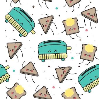 シームレスなパターン、幸せなトースト。