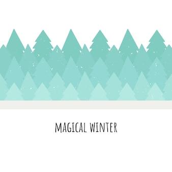 Волшебная зима. векторные иллюстрации. лес деревьев. плоский стиль