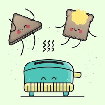 幸せなトーストのベクトル図。