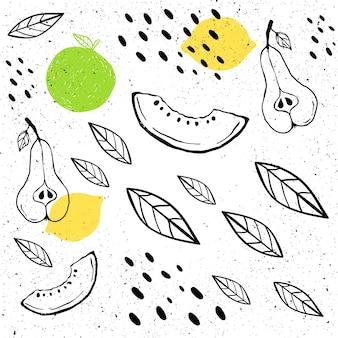 Бесшовные модели в стиле ручной работы. груша, дыня, листья, точки
