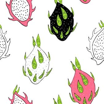 ドラゴンフルーツとシームレスなパターンベクトル。スカンジナビアの動機手で描く