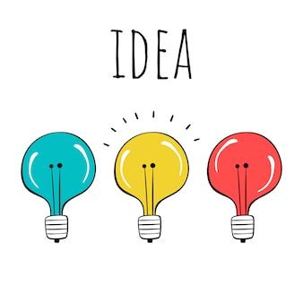 Векторный набор лампочек. рисованный стиль