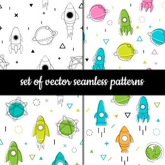 ベクターのシームレスパターンのセットです。宇宙