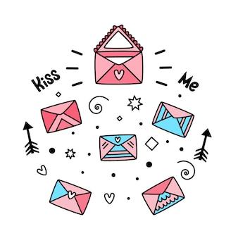 Векторный набор почтовых конвертов на день святого валентина