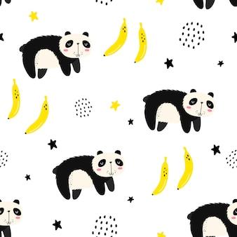 パンダとのシームレスなパターンベクトル