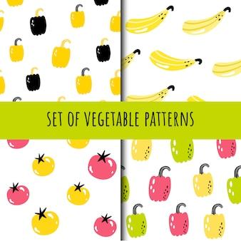 シームレスな野菜パターンのセット