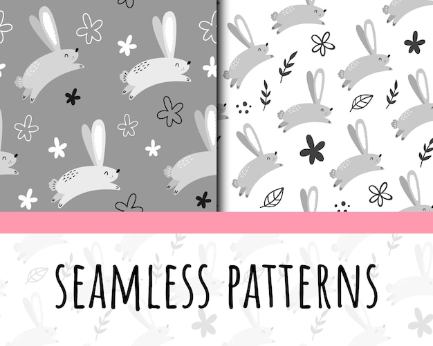 ウサギとのシームレスなパターンベクトル