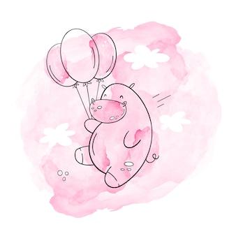 カバと風船のベクトルイラスト。ピンクの水彩、手描きスタイル