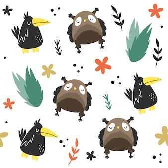 フクロウ、カラスと植物のシームレスなパターンベクトル。スカンジナビア、手描きスタイル