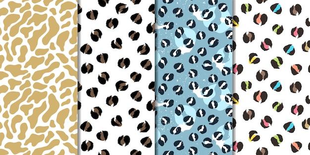 Набор векторных бесшовные шаблоны. леопард, жираф