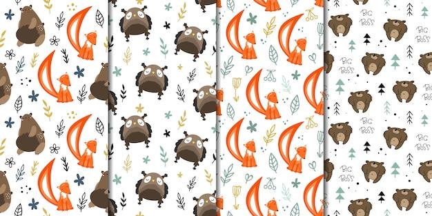 森林動物とのシームレスなパターンベクトルのセットです。