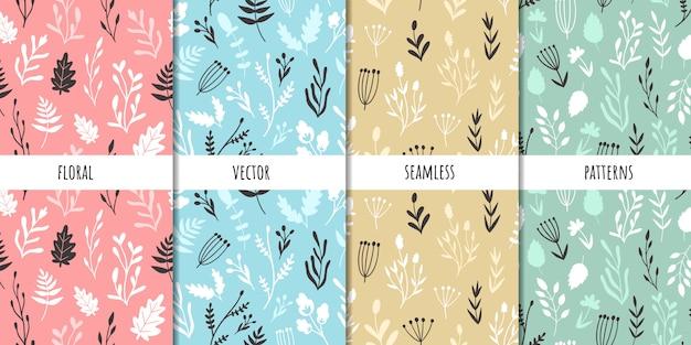 ベクターのシームレスパターンのセットです。植物の種類手で書いた