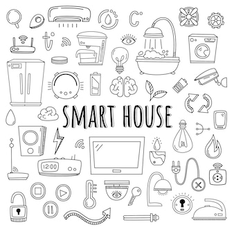 スマートハウススマートホームシステムの要素と機器のベクトルを設定します。落書きスタイル