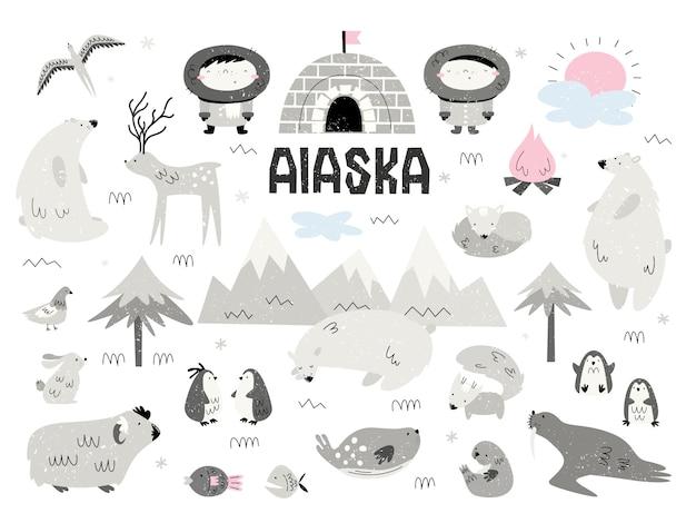 Животные аляски и эскимосы. большой набор элементов, изолятов, предметов. сканди стиль.