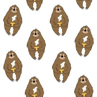 Вектор бесшовные модели с ленивцами