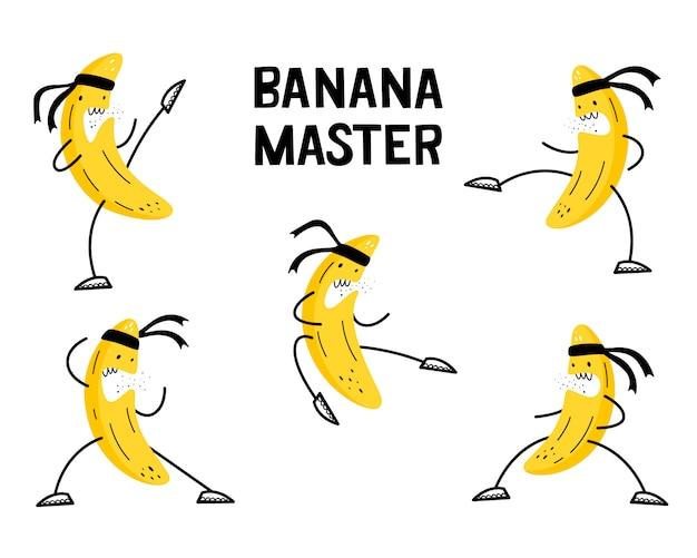 Банан занимается боевыми искусствами. векторный набор иллюстраций. эмоциональные фрукты