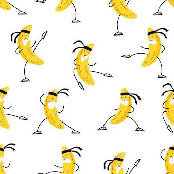 シームレスパターンベクトル。バナナは武道に従事しています。絵文字スタイル