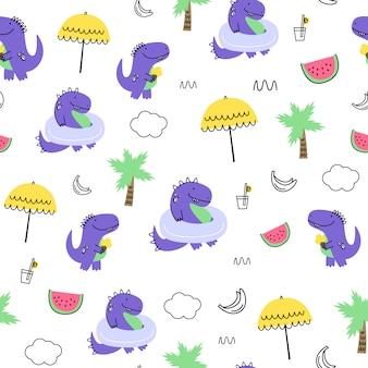 Бесшовный узор вектор с динозаврами. мультяшный стиль детский принт