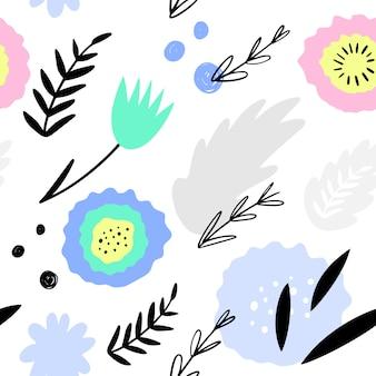 抽象的な花柄シームレスパターン。手描き、包装、織物およびその他のデザインの落書きスタイル植物。