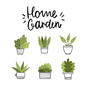 かわいい鉢植えの花とレタリングの家の庭図。落書きスタイル