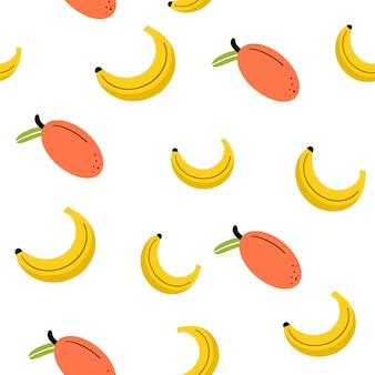 Бесшовный фон с манго и бананом