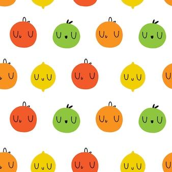 着色されたフルーツ。シームレスな絵文字パターンベクトル。リンゴ、オレンジ、グレープフルーツ、レモン