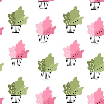 鍋に家の花。落書きスタイルでシームレスなパターンベクトル