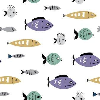 魚と海洋のベクトルのシームレスパターン