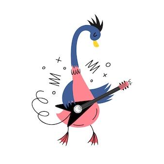 Гусь-музыкант с электрогитарой. векторные иллюстрации в стиле каракули. рок-н-ролл