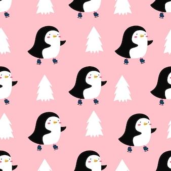 スケートのかわいいペンギンのパターン