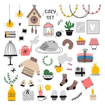 Набор уютных домашних элементов иллюстрации.