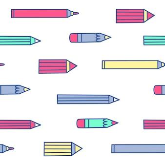 Бесшовный узор вектор с цветными карандашами. плоский стиль