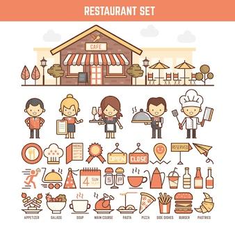 インフォグラフィックス用の食糧およびレストラン要素