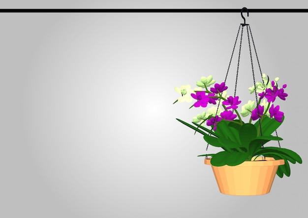 背景の壁に植木鉢