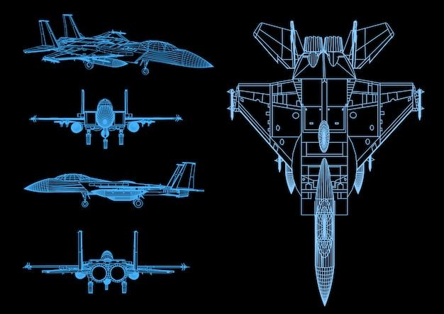 Истребитель в полете в абстрактный многоугольной