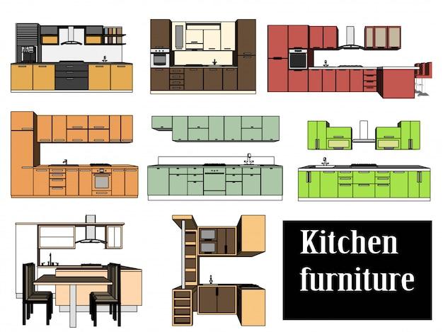 Вектор кухонная мебель