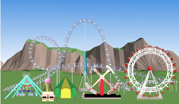 Иллюстрация парка развлечений