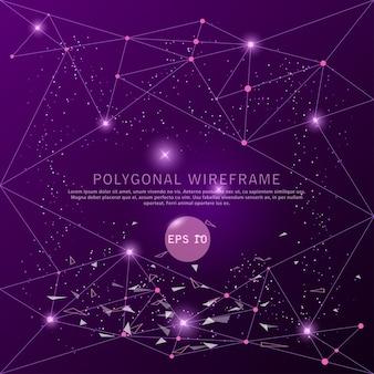 抽象的な紫色の背景未来のワイヤーフレーム。