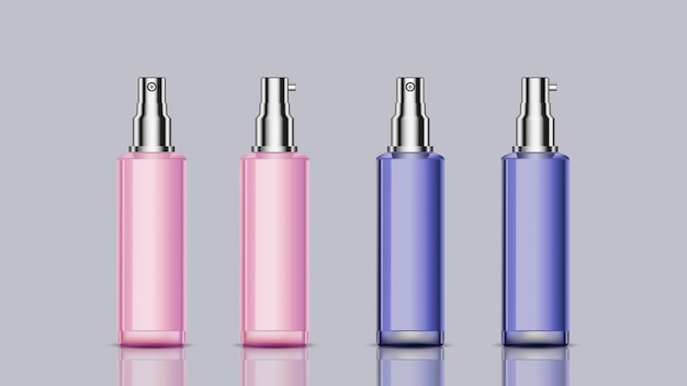 デザイン用のピンクとブルー模型化粧品ボトル