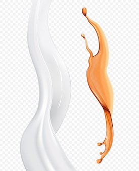 半透明のオイルとクリームの要素
